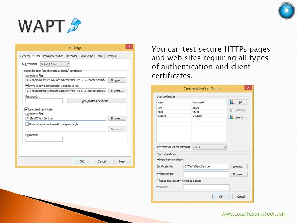 You can test secure HTTPs pages and web sites requiring all types of authentication and client certificates. www.LoadTestingTool.com