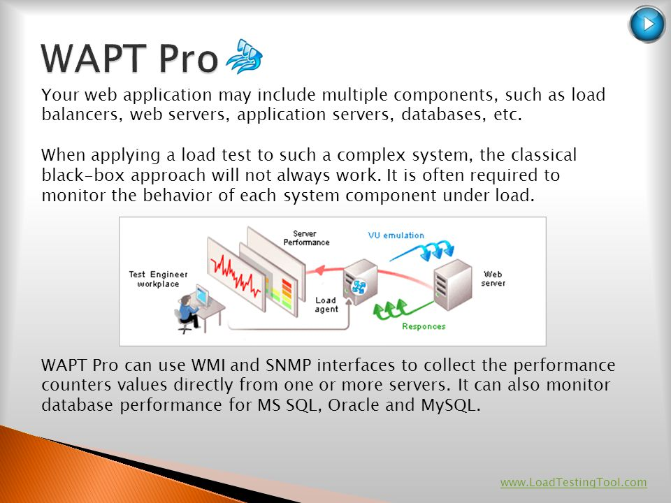 Your web application may include multiple components, such as load balancers, web servers, application servers, databases, etc. When applying a load t