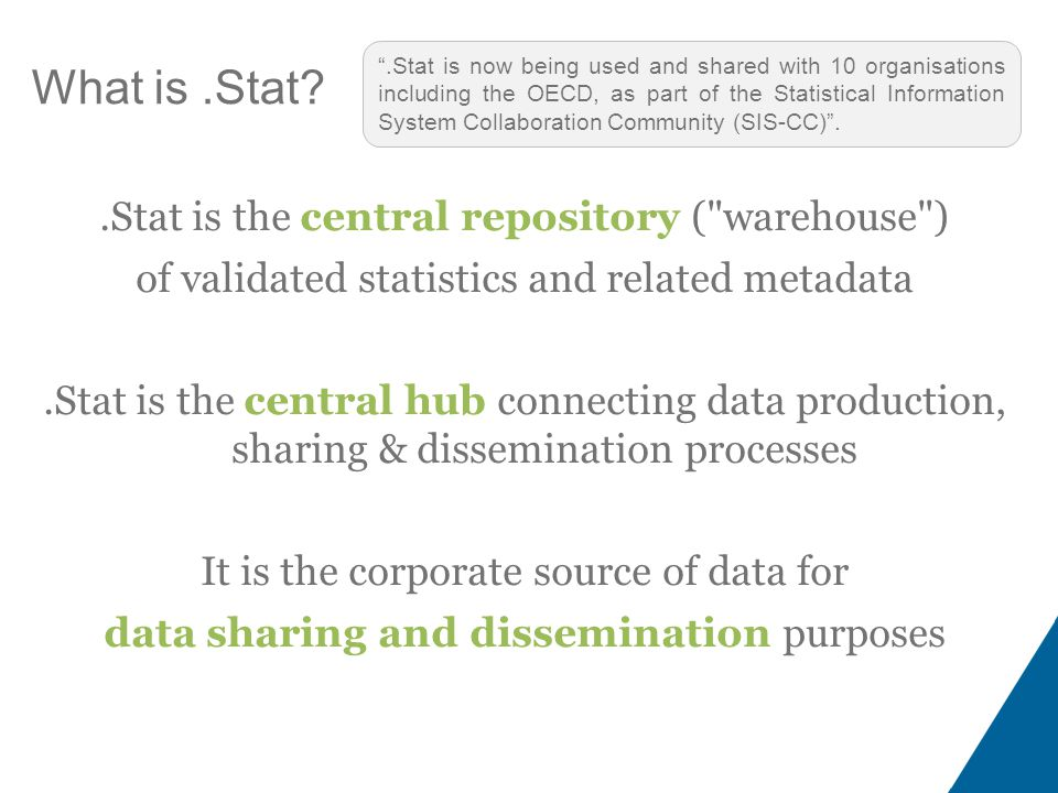 What is.Stat .Stat is the central repository ( warehouse ) of validated statistics and related metadata.Stat is the central hub connecting data production, sharing & dissemination processes It is the corporate source of data for data sharing and dissemination purposes .Stat is now being used and shared with 10 organisations including the OECD, as part of the Statistical Information System Collaboration Community (SIS-CC) .