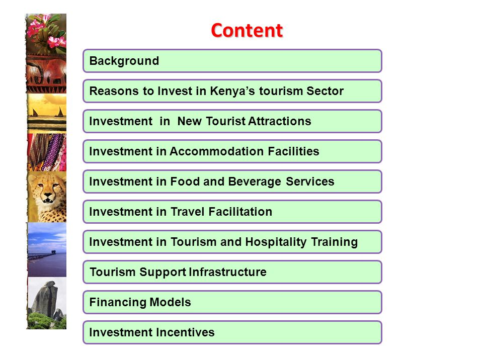 Background  Economic Contribution of Tourism 10% of the GDP 10% of the GDP A leading Foreign Exchange Earner (20%) A leading Foreign Exchange Earner (20%) 9% of Total Wage Employment 9% of Total Wage Employment Identified as one of the key economic drivers under Vision 2030 Identified as one of the key economic drivers under Vision 2030 Tourist arrivals projected to increase from 1.7 million in 2012 to 3 million 2017 Tourist arrivals projected to increase from 1.7 million in 2012 to 3 million 2017  Kenya's tourism Product Diverse wildlife, beautiful scenery, wilderness, pleasant climate & white sandy beaches Diverse wildlife, beautiful scenery, wilderness, pleasant climate & white sandy beaches Rich cultural and historical heritage Rich cultural and historical heritage