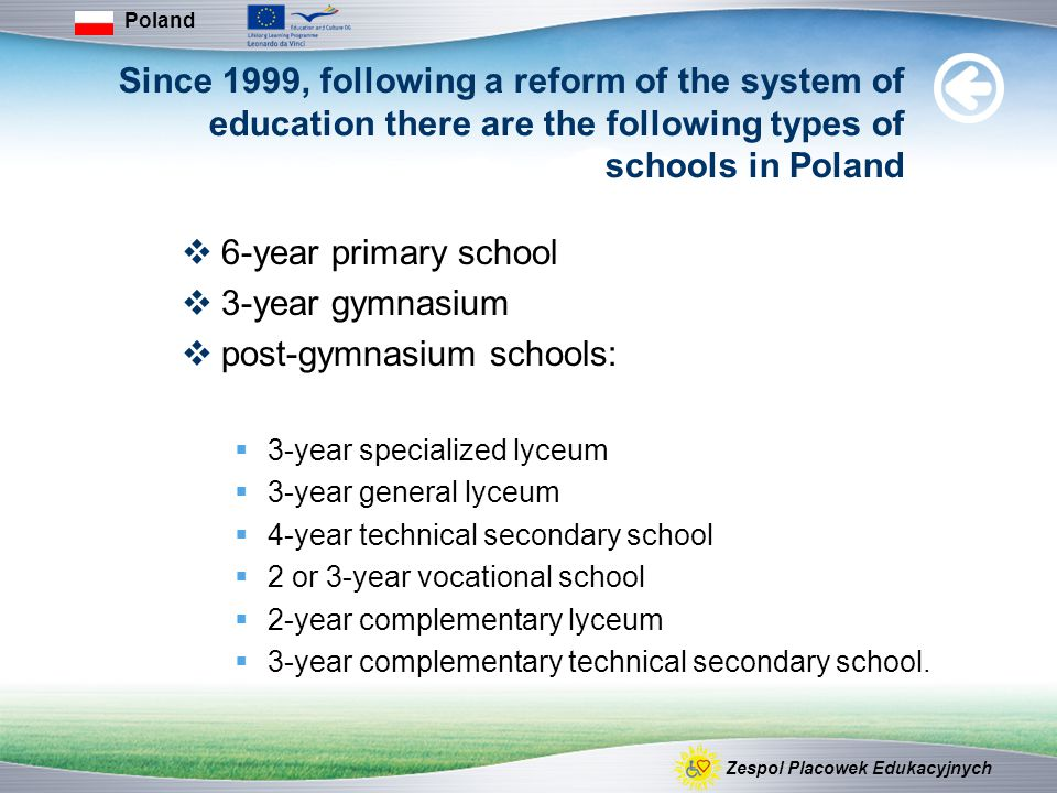 Since 1999, following a reform of the system of education there are the following types of schools in Poland  6-year primary school  3-year gymnasium  post-gymnasium schools:  3-year specialized lyceum  3-year general lyceum  4-year technical secondary school  2 or 3-year vocational school  2-year complementary lyceum  3-year complementary technical secondary school.