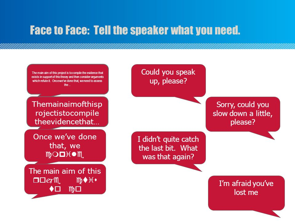 Face to Face: Tell the speaker what you need.