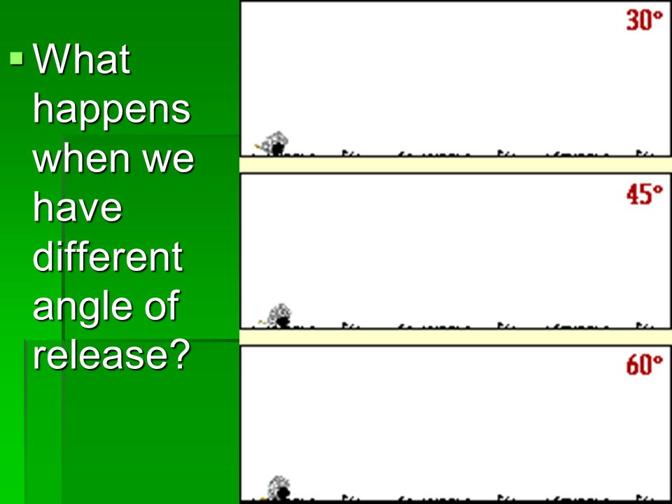  What happens when we have different angle of release?