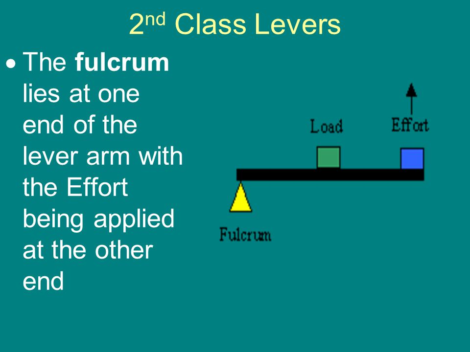 2 nd Class Levers  The fulcrum lies at one end of the lever arm with the Effort being applied at the other end