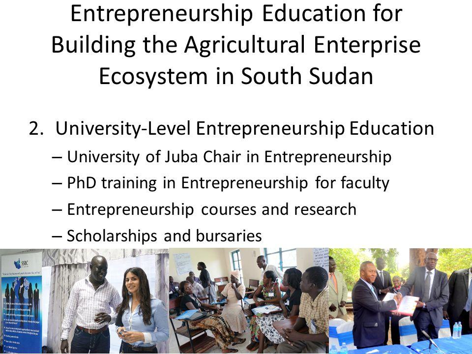 Entrepreneurship Education for Building the Agricultural Enterprise Ecosystem in South Sudan 2.University-Level Entrepreneurship Education – Universit