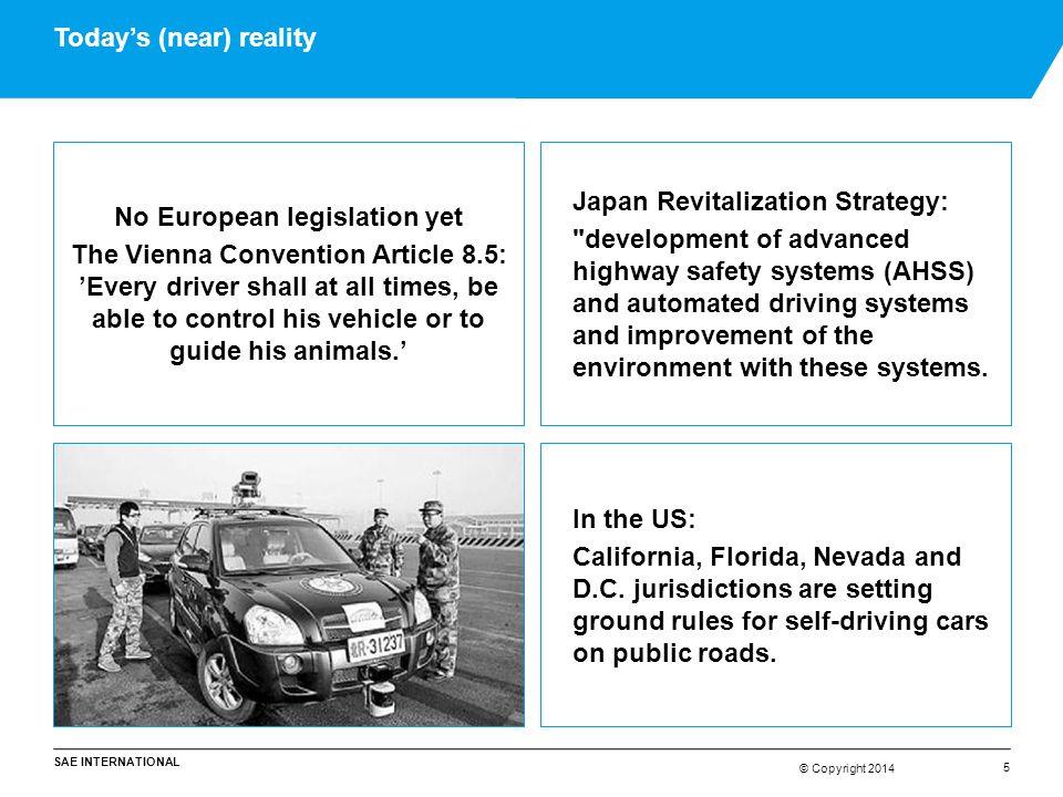 © Copyright 2014 SAE INTERNATIONAL © Copyright 2014 Today's (near) reality 5 No European legislation yet The Vienna Convention Article 8.5: 'Every dri