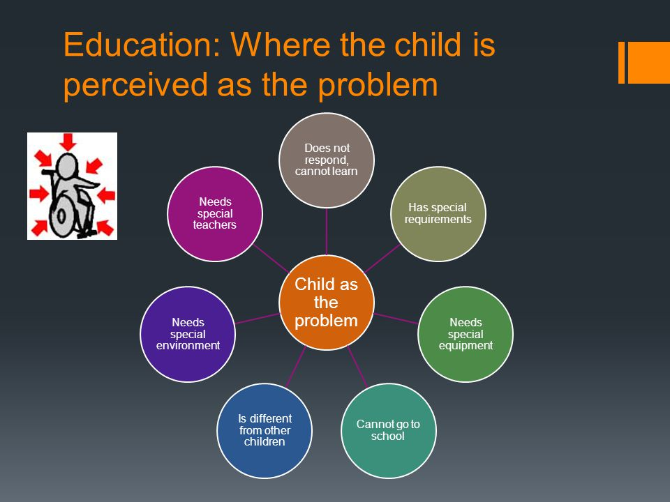 Education: Where the child is perceived as the problem Child as the problem Does not respond, cannot learn Has special requirements Needs special equipment Cannot go to school Is different from other children Needs special environment Needs special teachers