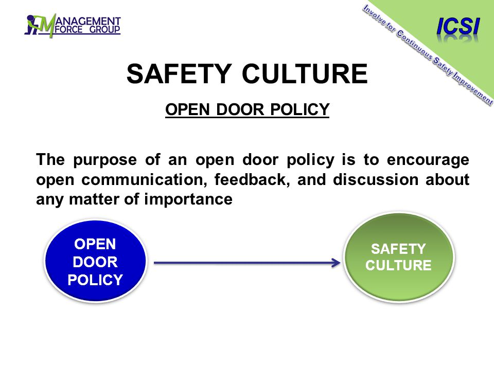 SAFETY CULTURE OPEN DOOR POLICY The purpose of an open door policy is to encourage open communication, feedback, and discussion about any matter of importance OPEN DOOR POLICY SAFETY CULTURE