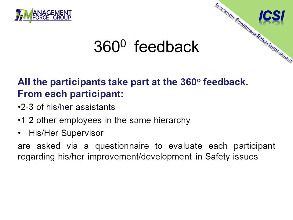 360 0 feedback All the participants take part at the 360 o feedback.