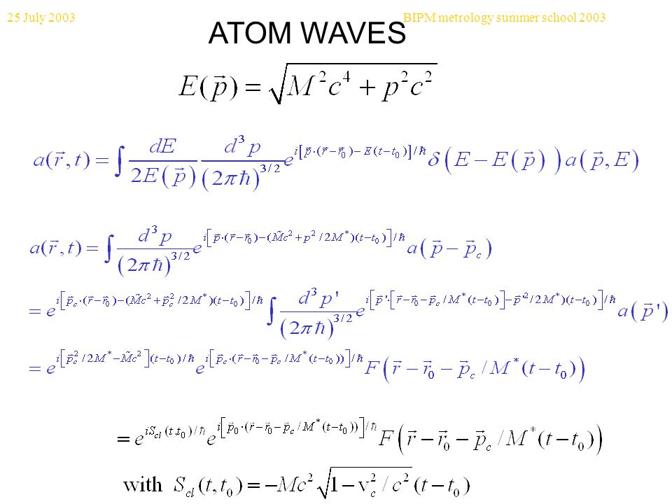 25 July 2003BIPM metrology summer school 2003 ATOM WAVES