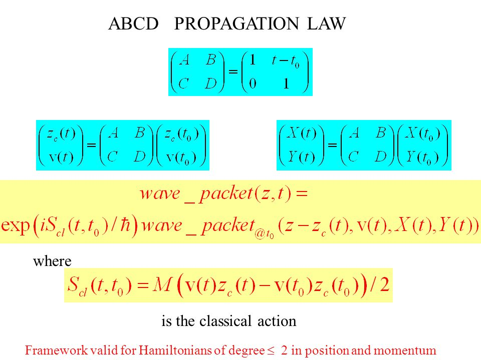 ABCD  PROPAGATION LAW Framework valid for Hamiltonians of degree  2 in position and momentum is the classical action where