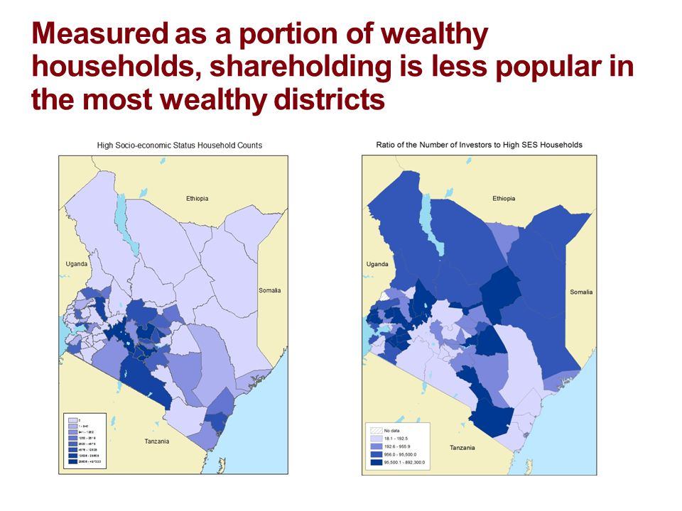 Measured as a portion of wealthy households, shareholding is less popular in the most wealthy districts