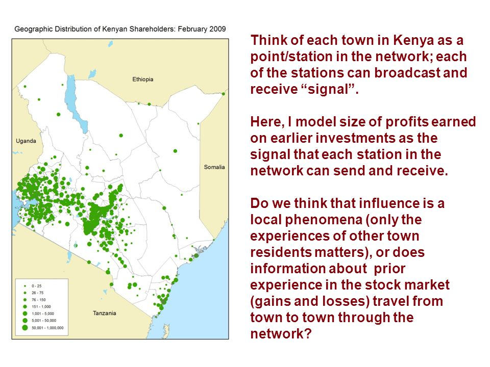 Think of each town in Kenya as a point/station in the network; each of the stations can broadcast and receive signal .