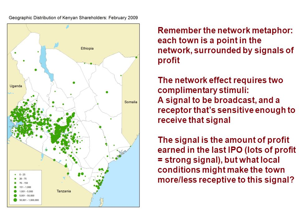 Remember the network metaphor: each town is a point in the network, surrounded by signals of profit The network effect requires two complimentary stimuli: A signal to be broadcast, and a receptor that's sensitive enough to receive that signal The signal is the amount of profit earned in the last IPO (lots of profit = strong signal), but what local conditions might make the town more/less receptive to this signal