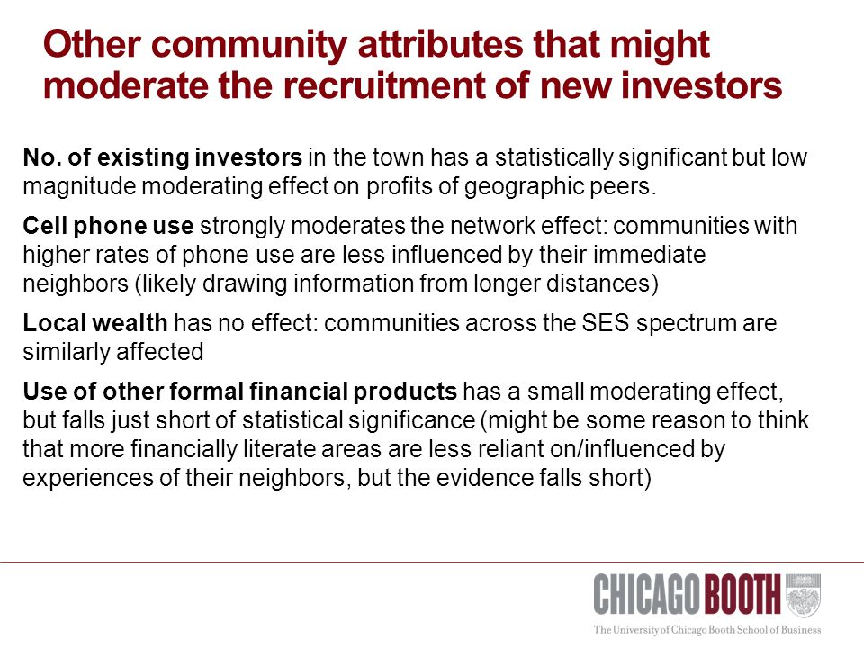 Other community attributes that might moderate the recruitment of new investors No.