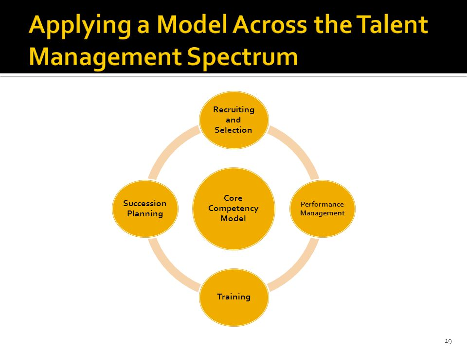 19 Core Competency Model Recruiting and Selection Performance Management Training Succession Planning