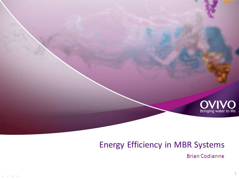 Energy Efficiency in MBR Systems Brian Codianne 1