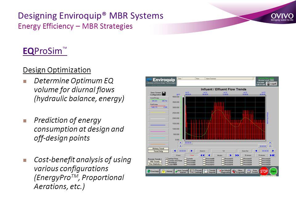 EQProSim ™ Design Optimization Determine Optimum EQ volume for diurnal flows (hydraulic balance, energy) Prediction of energy consumption at design an