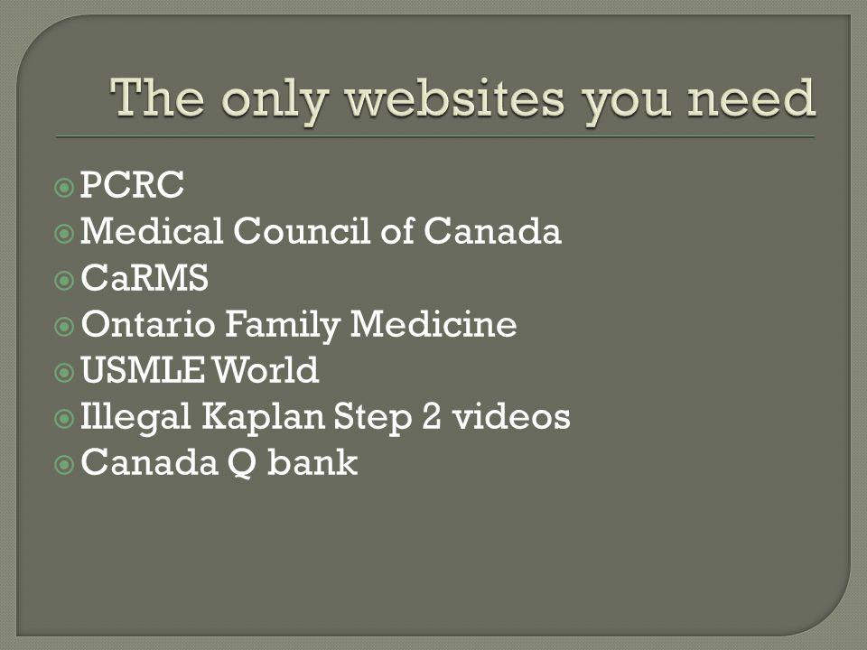  PCRC  Medical Council of Canada  CaRMS  Ontario Family Medicine  USMLE World  Illegal Kaplan Step 2 videos  Canada Q bank