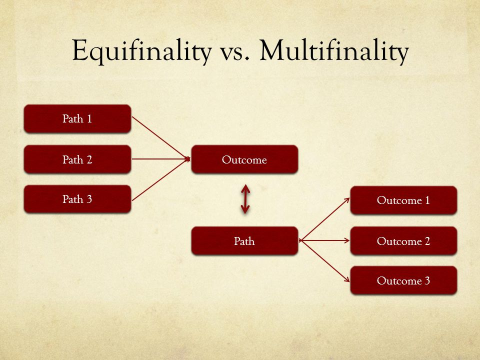 Equifinality vs. Multifinality Path 1 Path 3 Path 2 Outcome Path Outcome 1 Outcome 3 Outcome 2