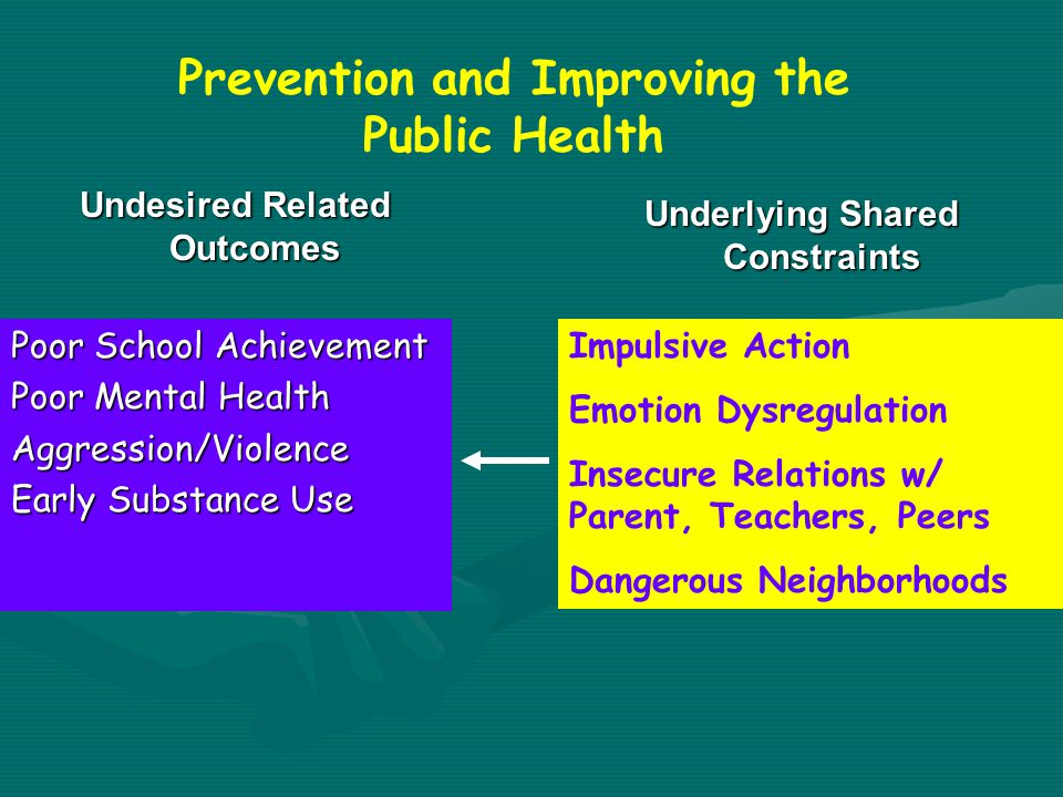Poor School Achievement Poor Mental Health Aggression/Violence Early Substance Use Impulsive Action Emotion Dysregulation Insecure Relations w/ Parent, Teachers, Peers Dangerous Neighborhoods Undesired Related Outcomes Underlying Shared Constraints Prevention and Improving the Public Health