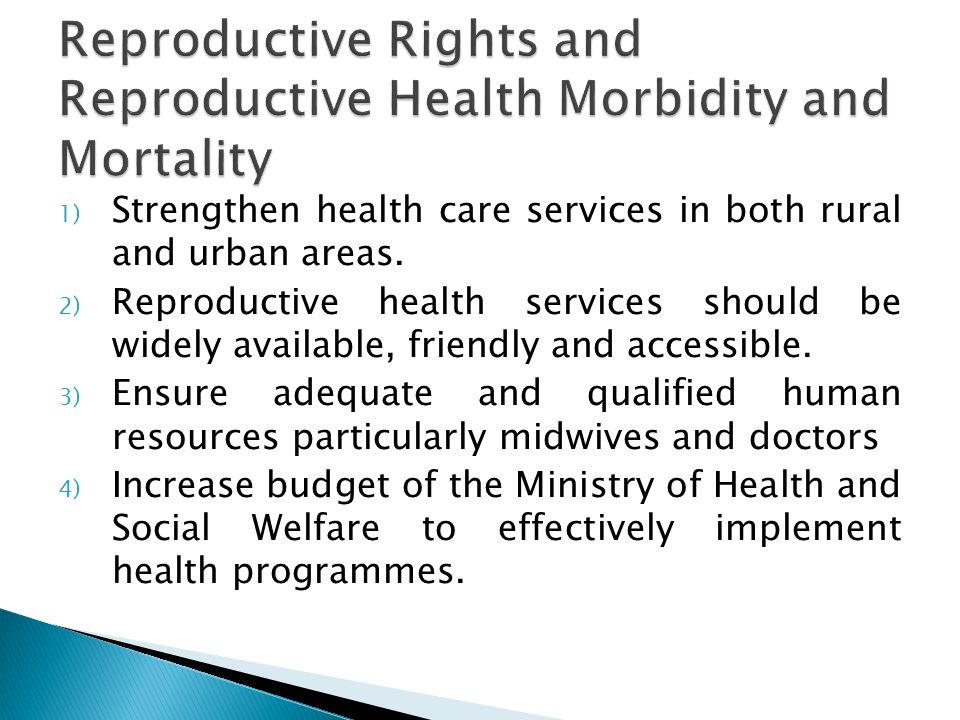1) Strengthen health care services in both rural and urban areas.