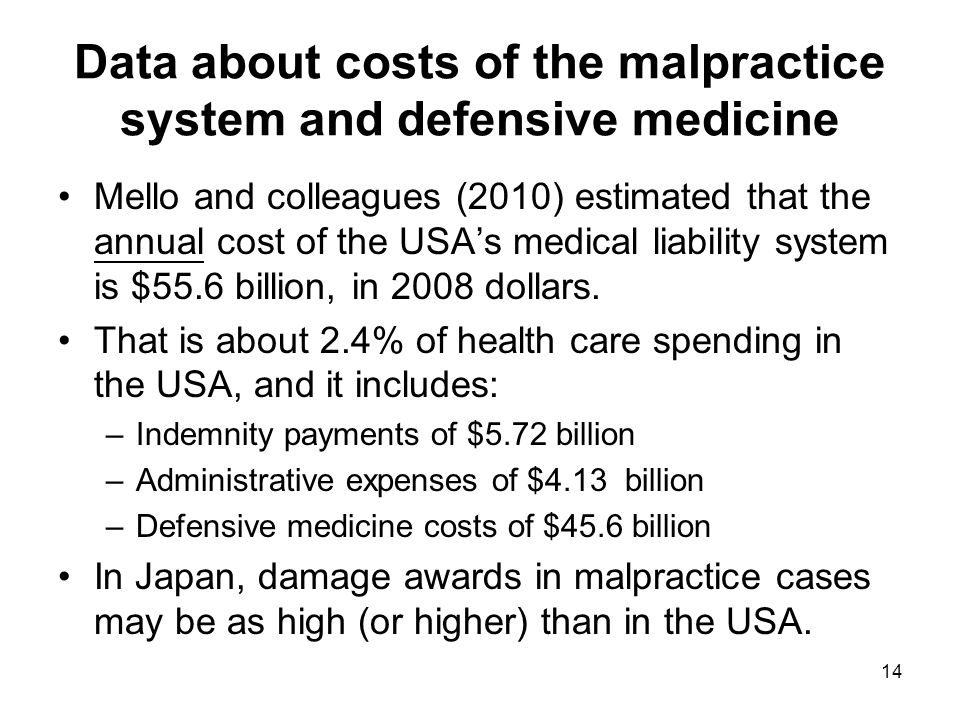 Data about costs of the malpractice system and defensive medicine Mello and colleagues (2010) estimated that the annual cost of the USA's medical liability system is $55.6 billion, in 2008 dollars.