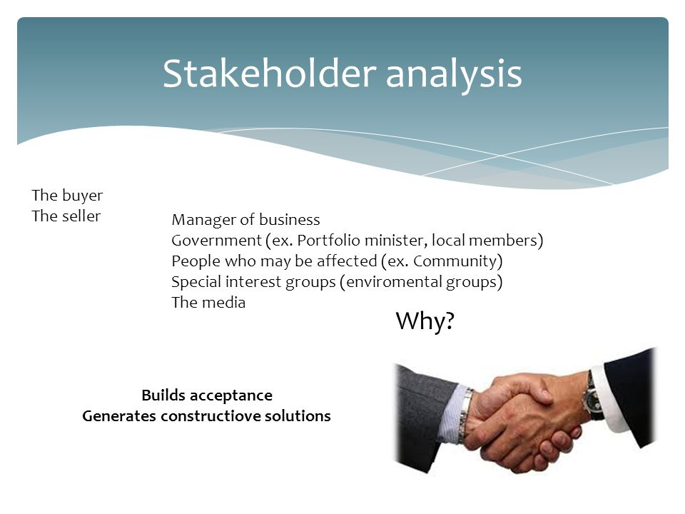 Stakeholder analysis The buyer The seller Manager of business Government (ex.