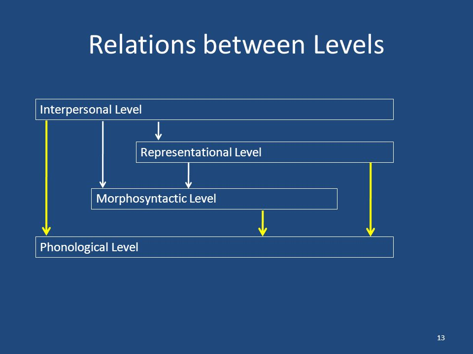 Relations between Levels 13 Interpersonal Level Representational Level Morphosyntactic Level Phonological Level
