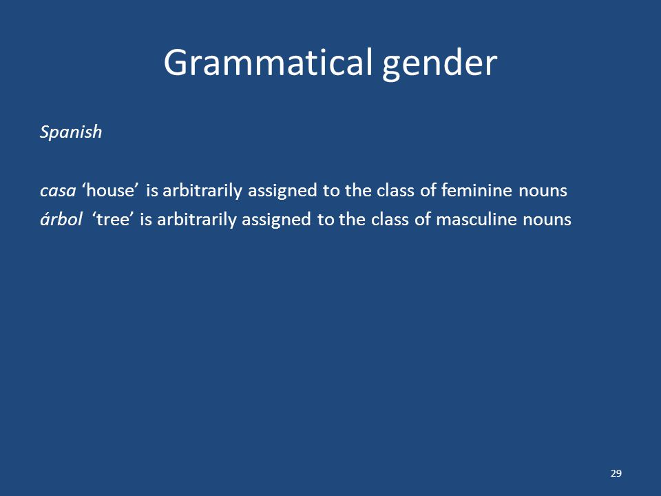 Grammatical gender Spanish casa 'house' is arbitrarily assigned to the class of feminine nouns árbol 'tree' is arbitrarily assigned to the class of masculine nouns 29