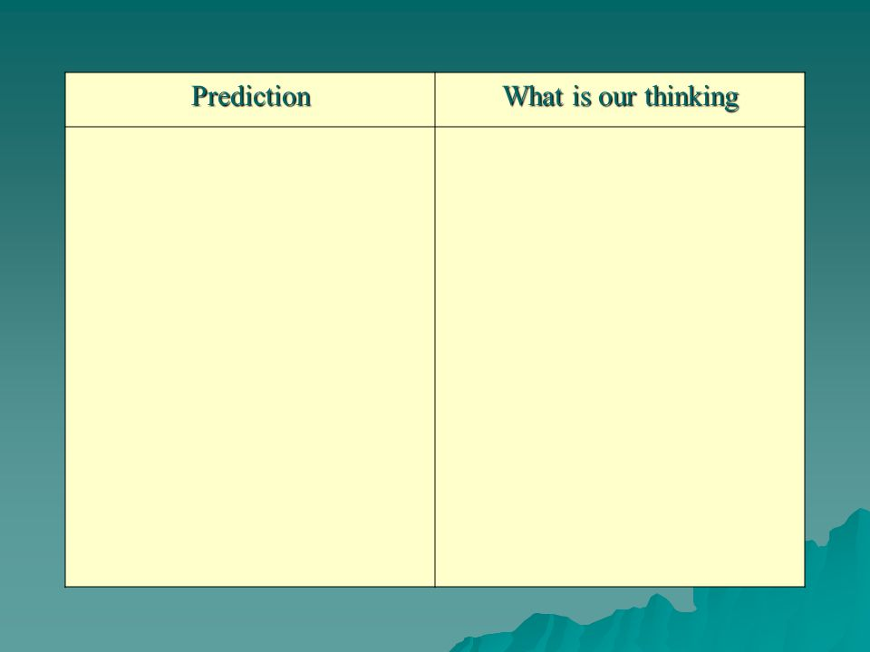 Prediction What is our thinking