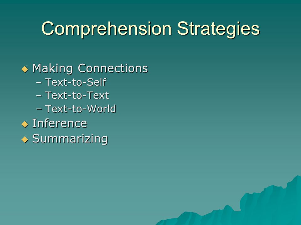 Comprehension Strategies  Making Connections –Text-to-Self –Text-to-Text –Text-to-World  Inference  Summarizing