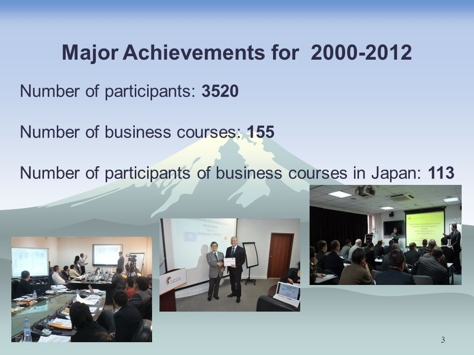 3 Number of participants: 3520 Number of business courses: 155 Number of participants of business courses in Japan: 113 Major Achievements for