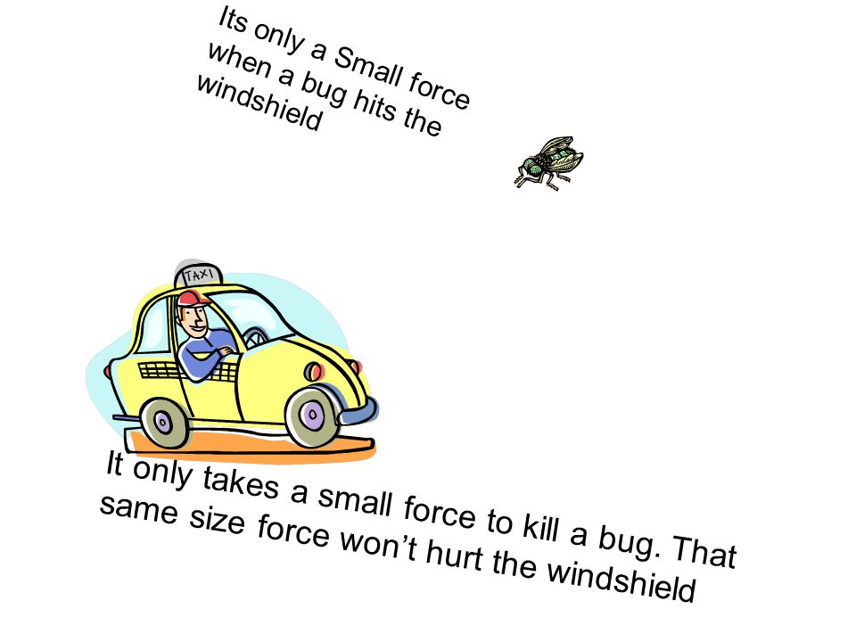 Its only a Small force when a bug hits the windshield It only takes a small force to kill a bug.