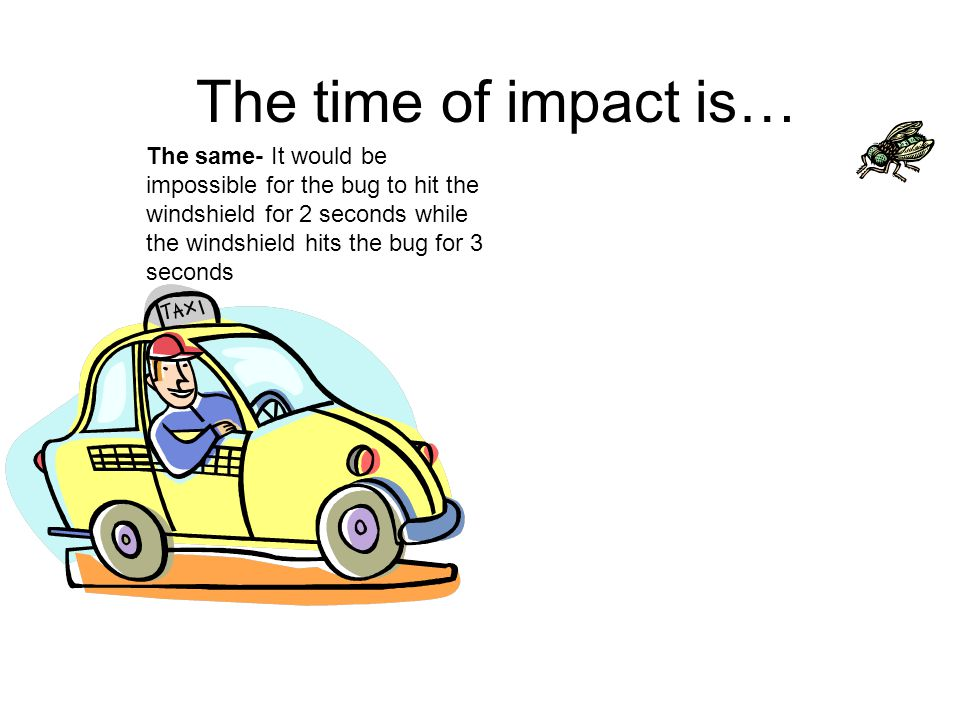 The time of impact is… The same- It would be impossible for the bug to hit the windshield for 2 seconds while the windshield hits the bug for 3 seconds