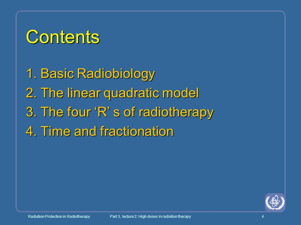 Radiation Protection in RadiotherapyPart 3, lecture 2: High doses in radiation therapy45 Extension of LQ model to include time: E = - ln S = n * d (α + βd) - γT l l γ equals ln2/T p with T p the potential doubling time l l note that the γT term has the opposite sign to the α + βd term indicating tumour growth instead of cell kill