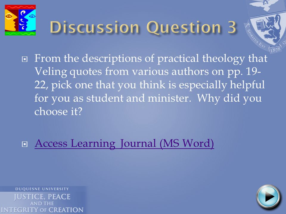  From the descriptions of practical theology that Veling quotes from various authors on pp.