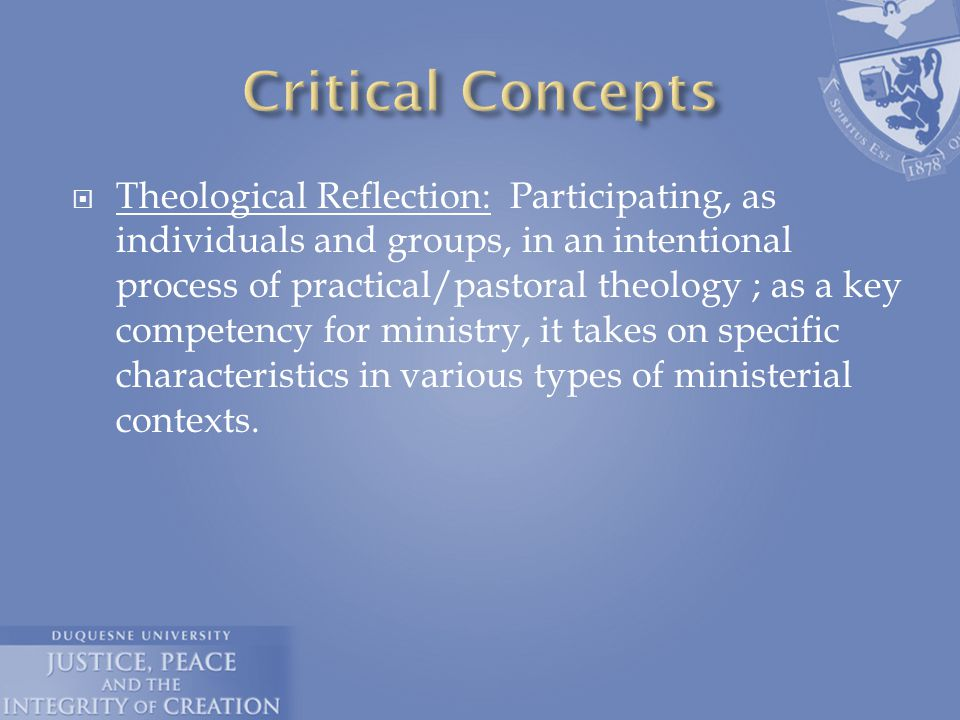  Theological Reflection: Participating, as individuals and groups, in an intentional process of practical/pastoral theology ; as a key competency for