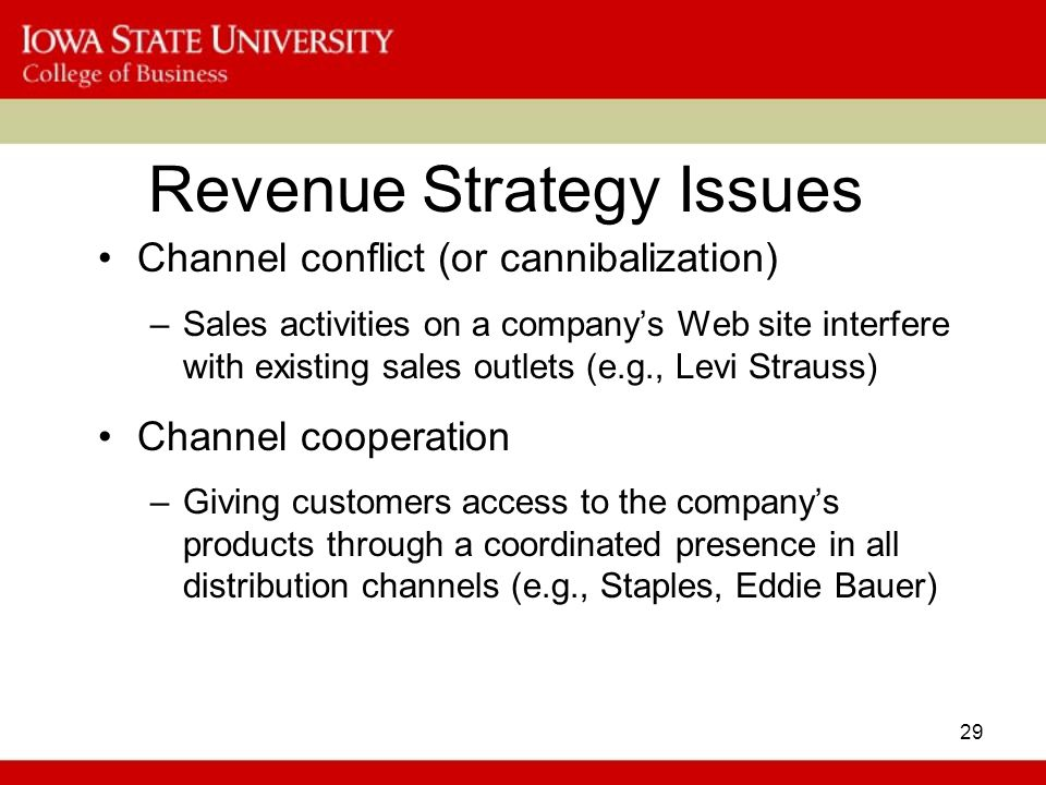 29 Revenue Strategy Issues Channel conflict (or cannibalization) –Sales activities on a company's Web site interfere with existing sales outlets (e.g., Levi Strauss) Channel cooperation –Giving customers access to the company's products through a coordinated presence in all distribution channels (e.g., Staples, Eddie Bauer)