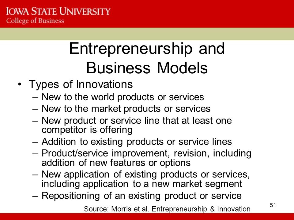 51 Entrepreneurship and Business Models Types of Innovations –New to the world products or services –New to the market products or services –New product or service line that at least one competitor is offering –Addition to existing products or service lines –Product/service improvement, revision, including addition of new features or options –New application of existing products or services, including application to a new market segment –Repositioning of an existing product or service Source: Morris et al.