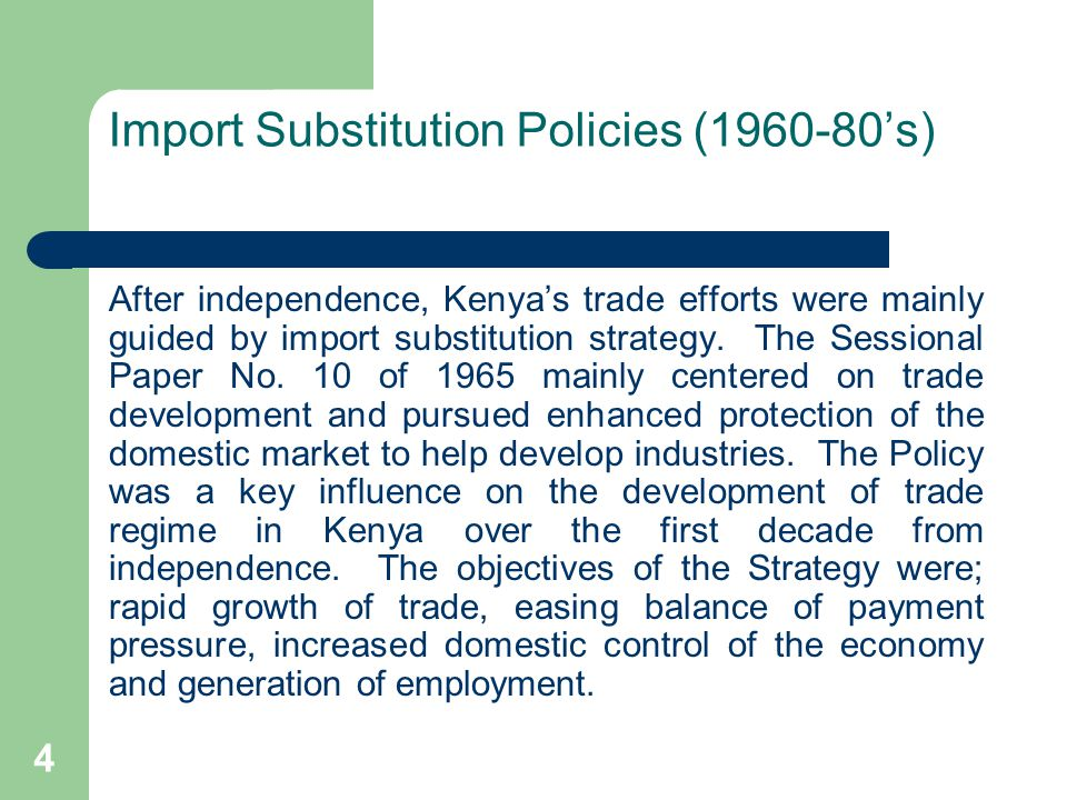 5 Trade Liberalization: Structural Adjustment Policies (SAPs-1980s) The SAPs were introduce in the early 1980s to address the Structural rigidities price instability and macro-economic imbalances that had become embedded in the economy and led to poor delivery of services by the public sector.