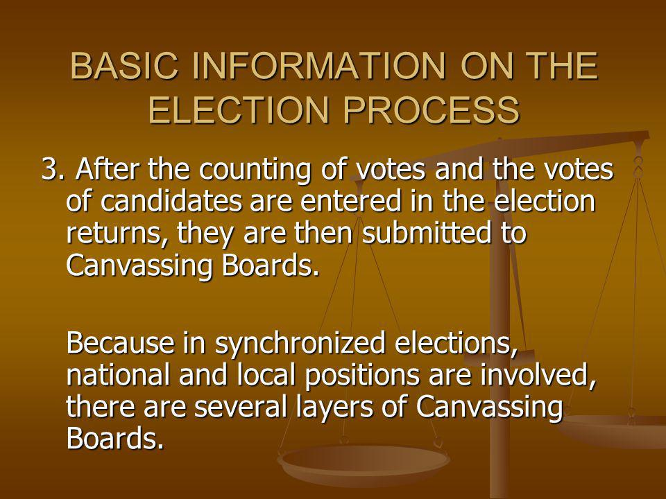 BASIC INFORMATION ON THE ELECTION PROCESS 3. After the counting of votes and the votes of candidates are entered in the election returns, they are the