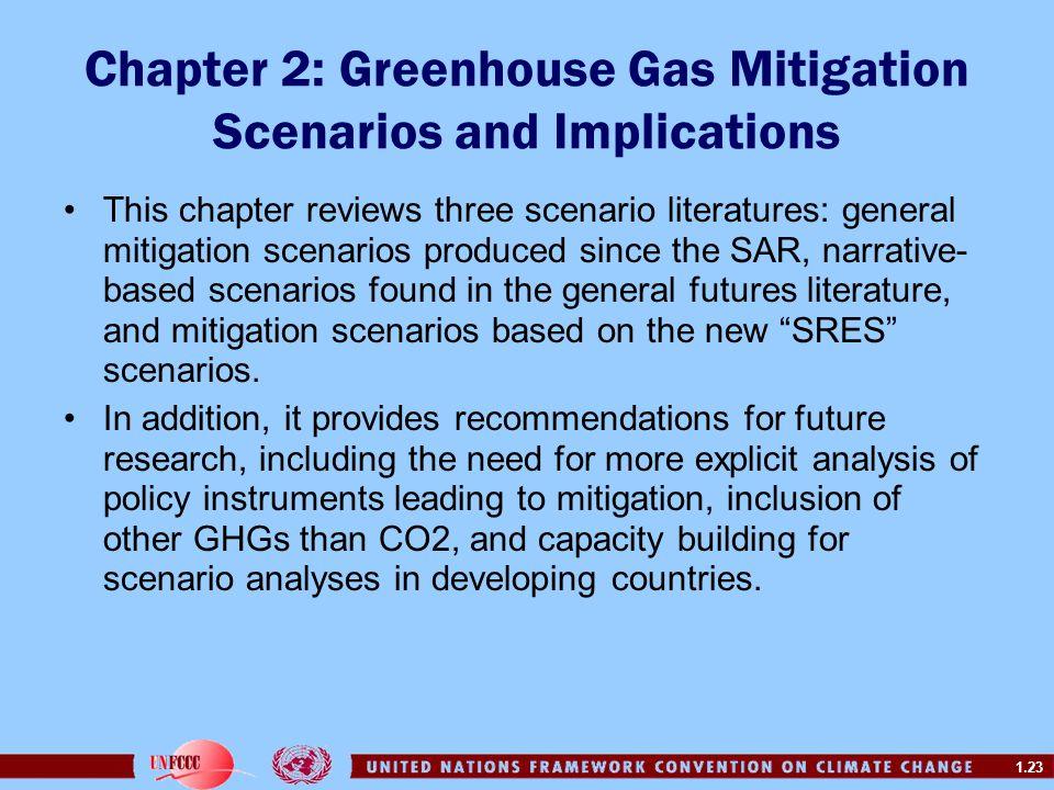 1.23 Chapter 2: Greenhouse Gas Mitigation Scenarios and Implications This chapter reviews three scenario literatures: general mitigation scenarios pro
