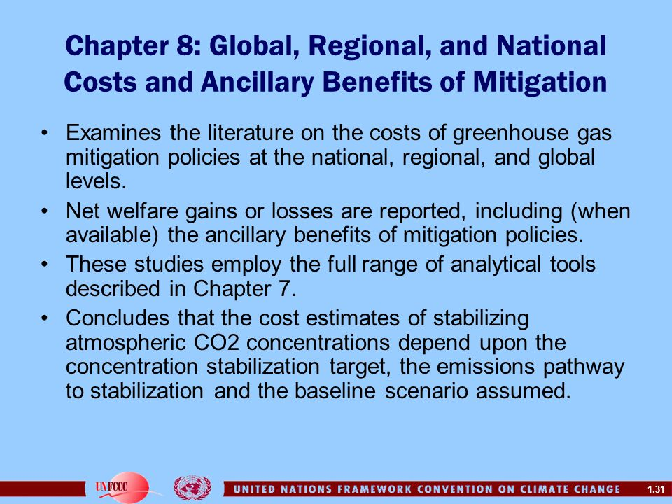 1.31 Chapter 8: Global, Regional, and National Costs and Ancillary Benefits of Mitigation Examines the literature on the costs of greenhouse gas mitig