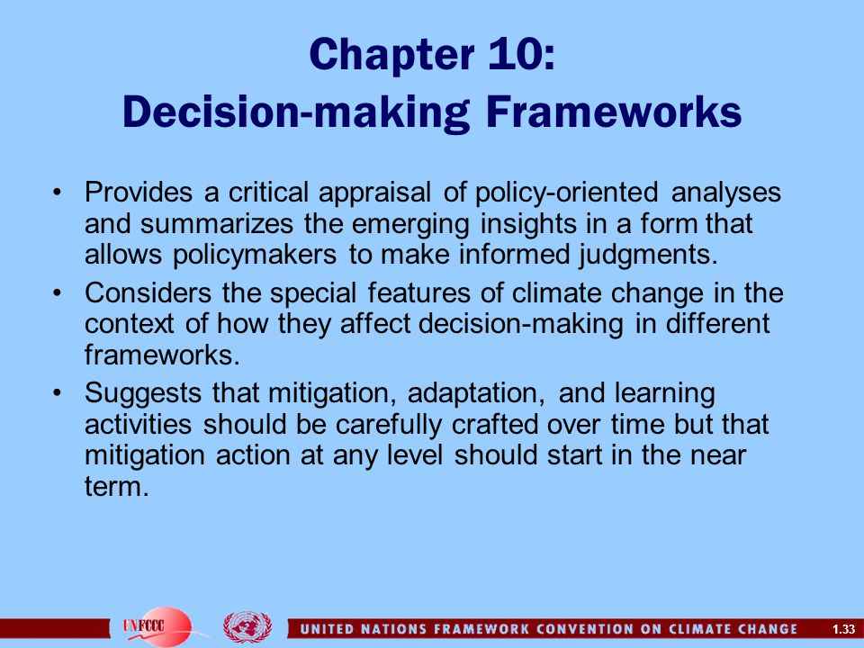 1.33 Chapter 10: Decision-making Frameworks Provides a critical appraisal of policy-oriented analyses and summarizes the emerging insights in a form t