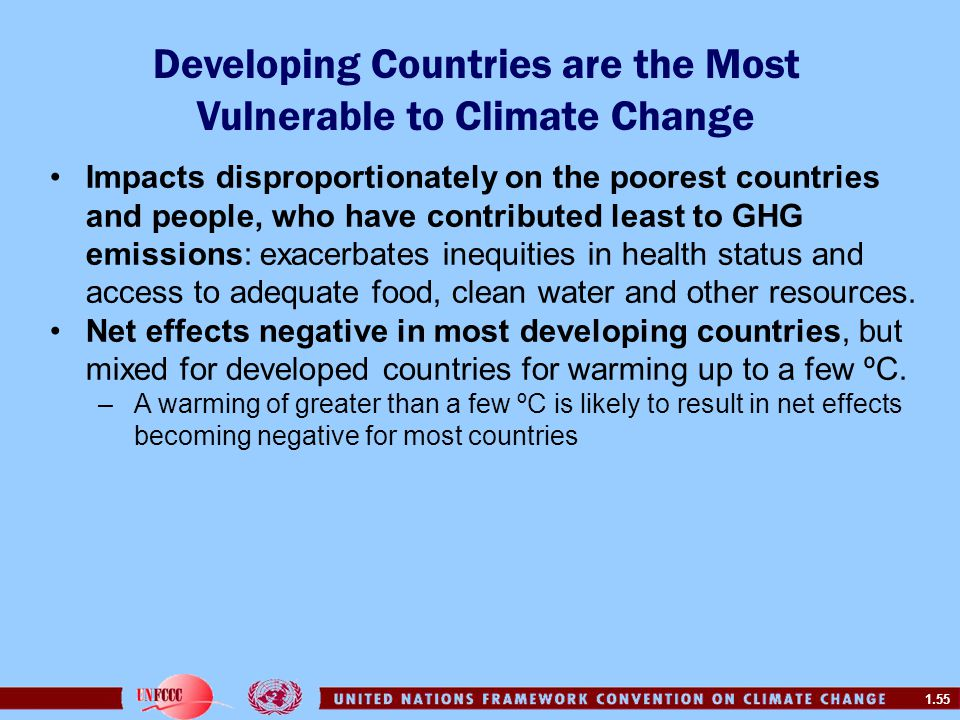 1.55 Developing Countries are the Most Vulnerable to Climate Change Impacts disproportionately on the poorest countries and people, who have contribut