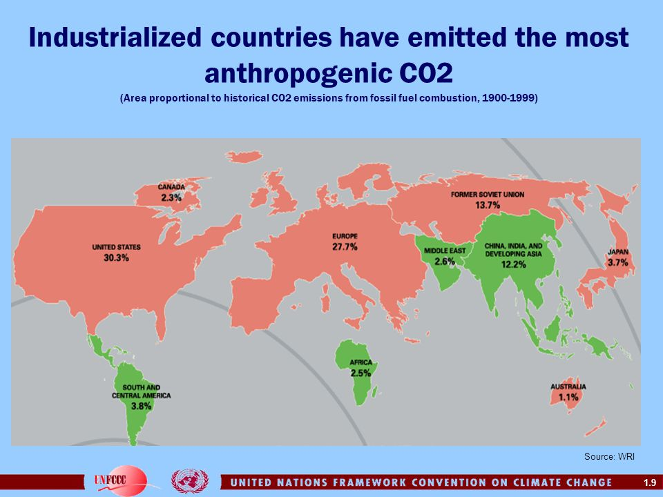 1.9 Industrialized countries have emitted the most anthropogenic CO2 (Area proportional to historical CO2 emissions from fossil fuel combustion, 1900-