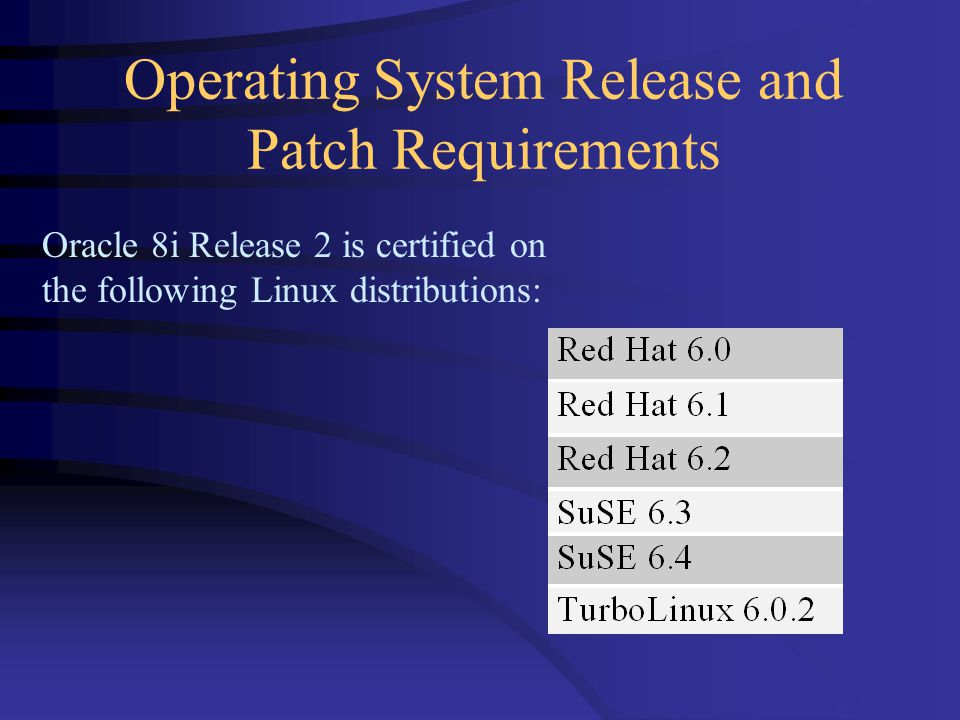 Operating System Release and Patch Requirements Oracle 8i Release 2 is certified on the following Linux distributions: