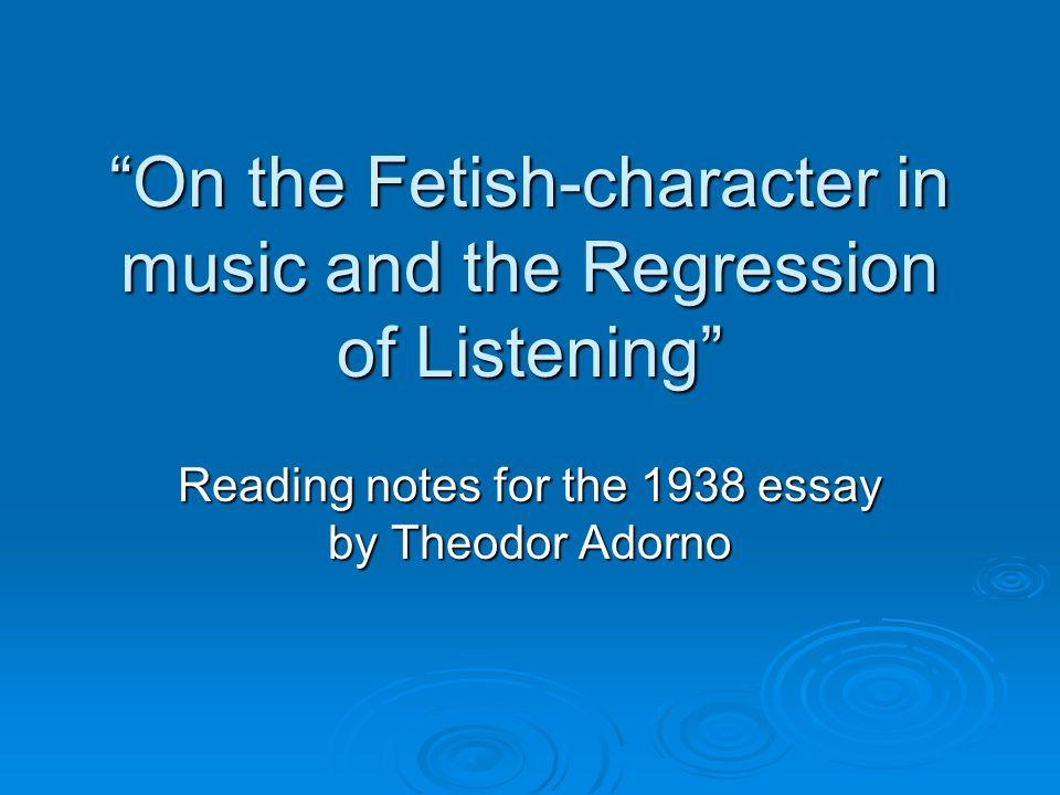 Reading Adorno  Adorno is a member of the Frankfurt school of philosophers and social critics.