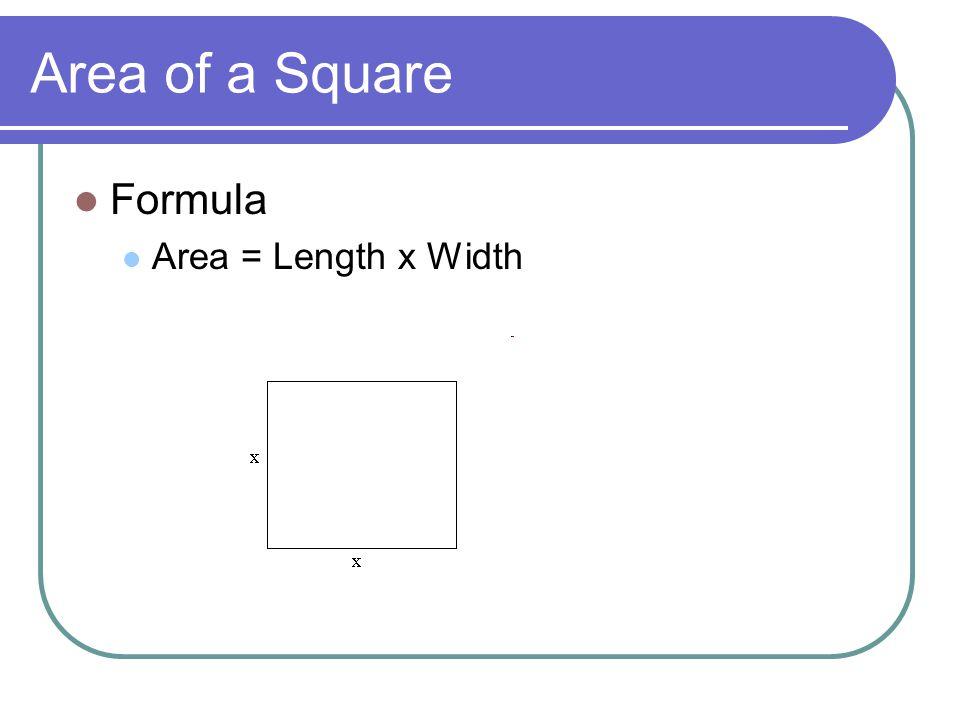 Area of a Square Formula Area = Length x Width